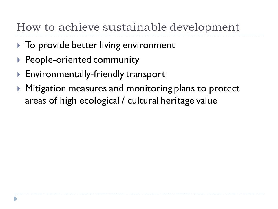How to achieve sustainable development