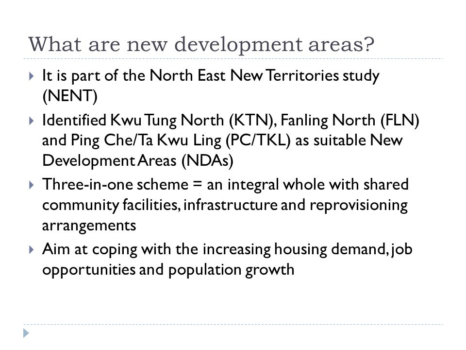What are new development areas