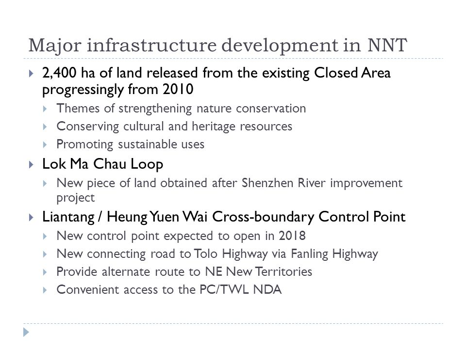 Major infrastructure development in NNT