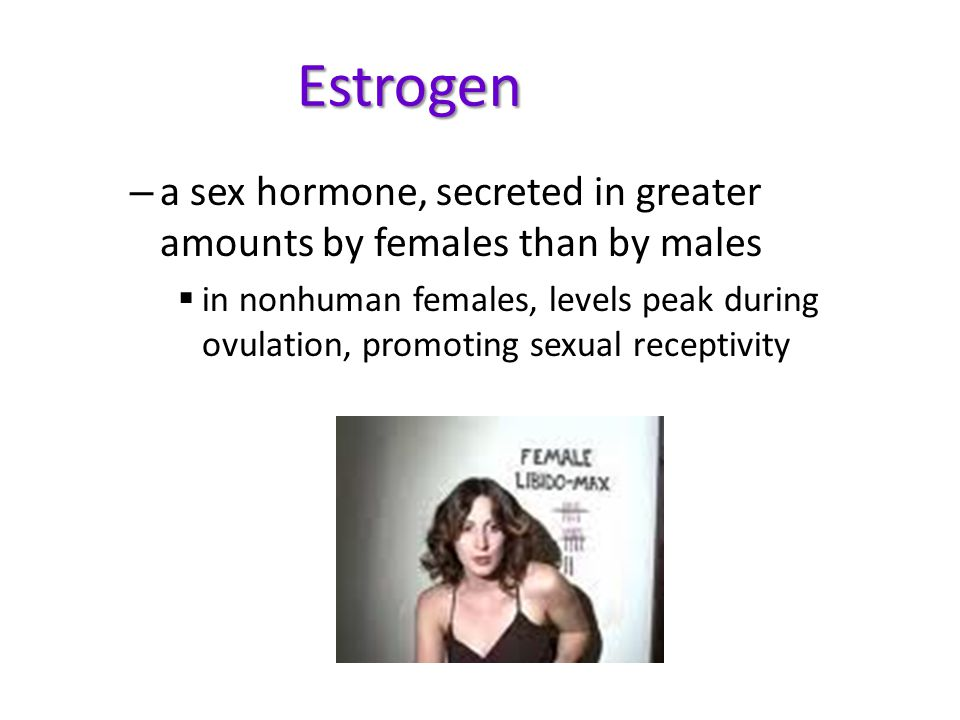 Estrogen a sex hormone, secreted in greater amounts by females than by males.