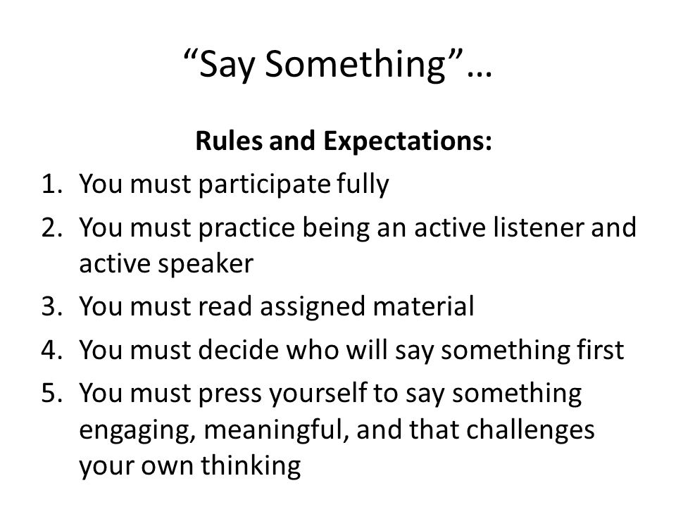Rules and Expectations: