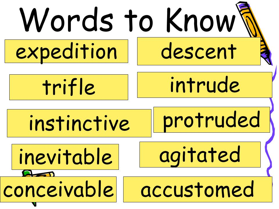 Words to Know descent expedition intrude trifle protruded instinctive