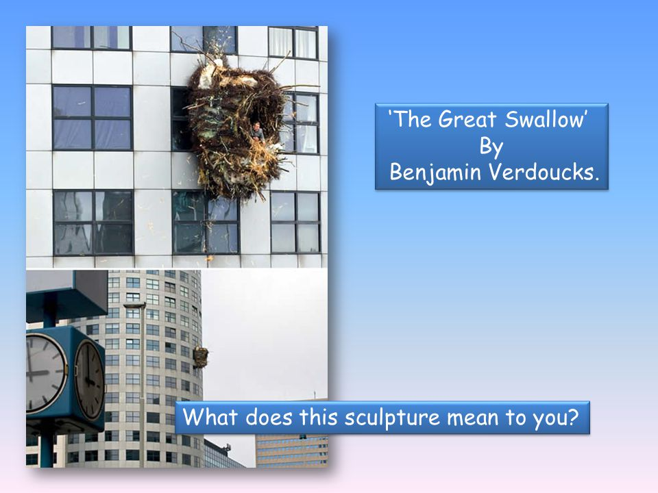 'The Great Swallow' By Benjamin Verdoucks. What does this sculpture mean to you