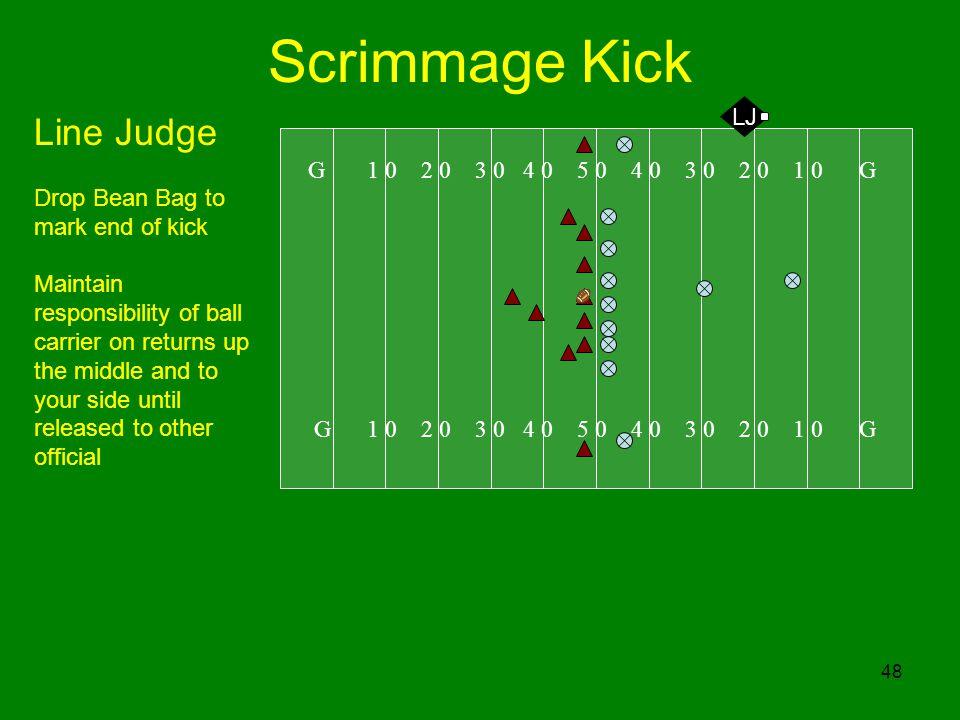 Scrimmage Kick Line Judge LJ Drop Bean Bag to mark end of kick