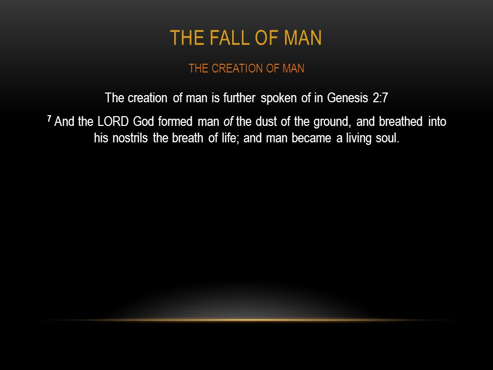 The FALL OF MAN THE CREATION OF MAN.