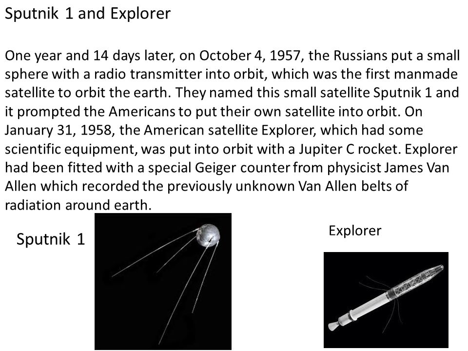 Sputnik 1 and Explorer Sputnik 1