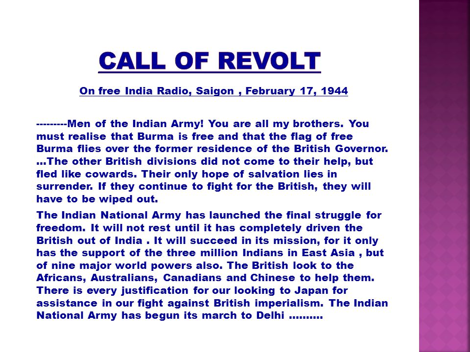 CALL OF REVOLT