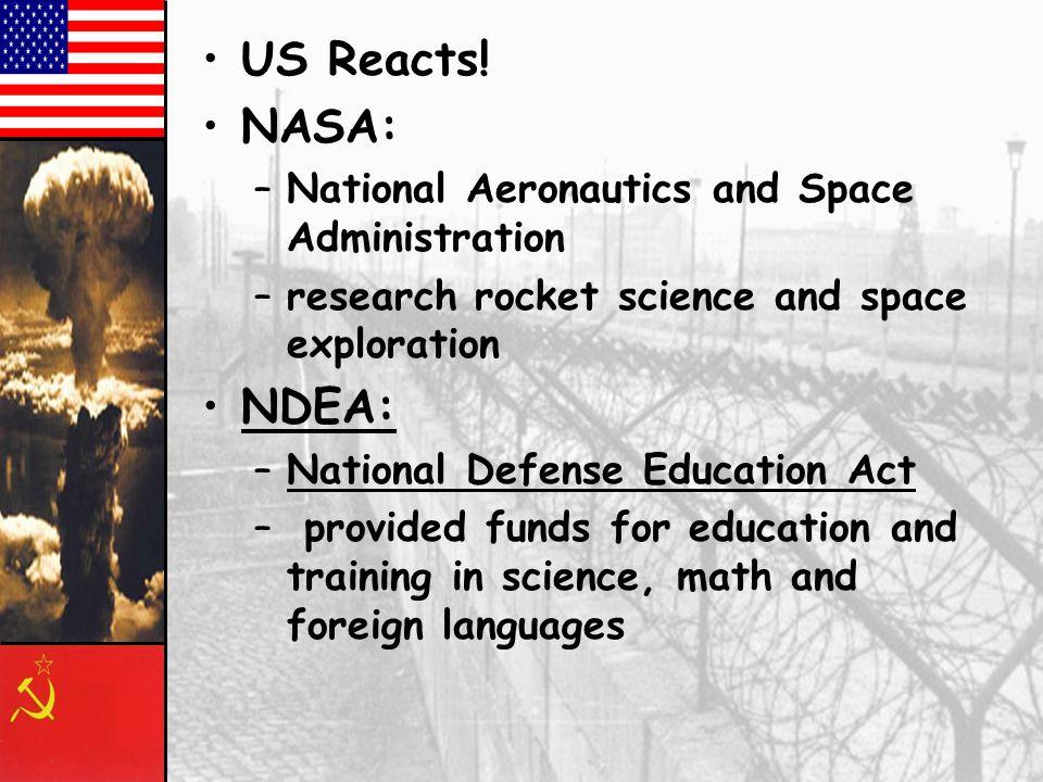 US Reacts! NASA: NDEA: National Aeronautics and Space Administration