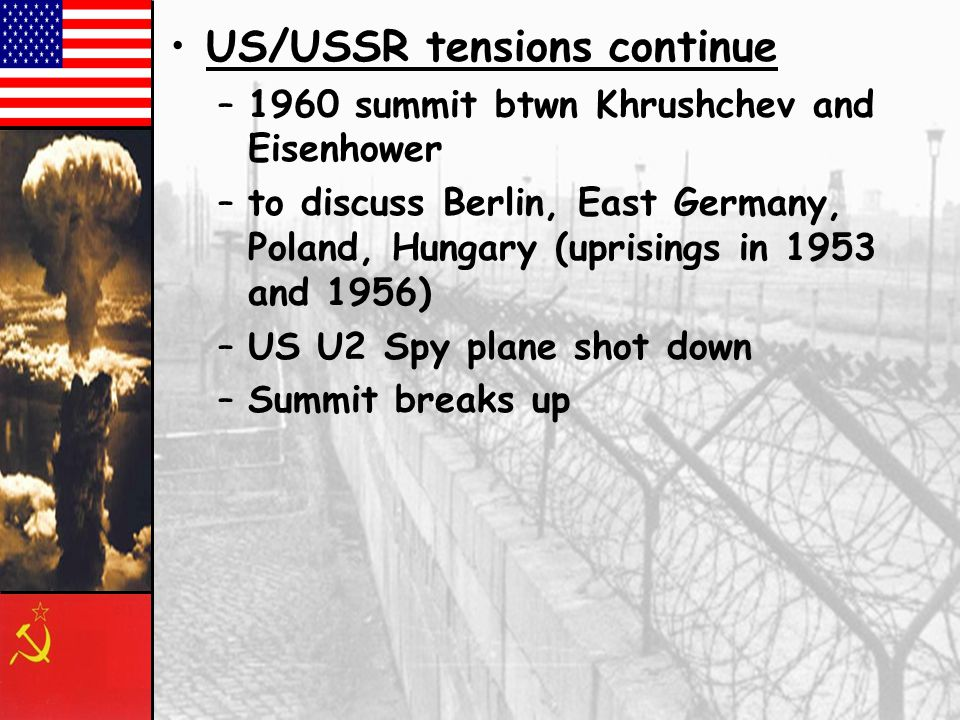 US/USSR tensions continue
