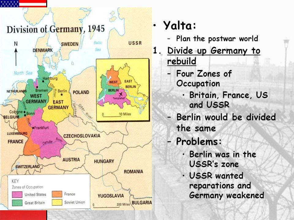 Yalta: Problems: Divide up Germany to rebuild