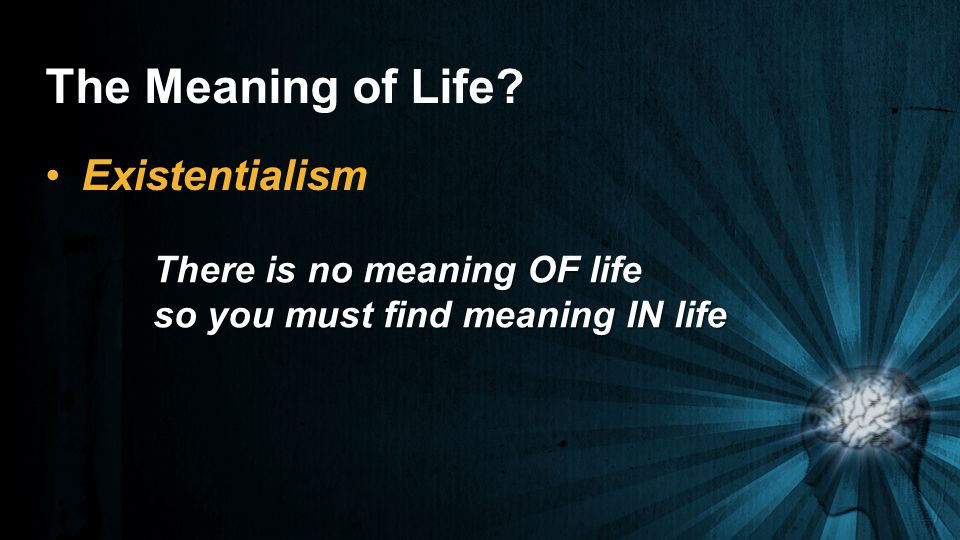 The Meaning of Life Existentialism There is no meaning OF life