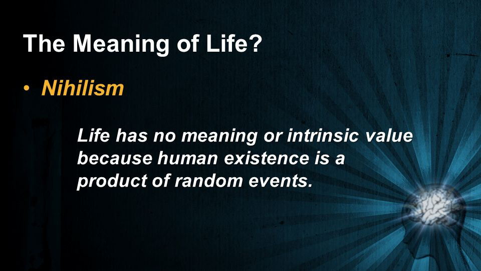 The Meaning of Life Nihilism Life has no meaning or intrinsic value