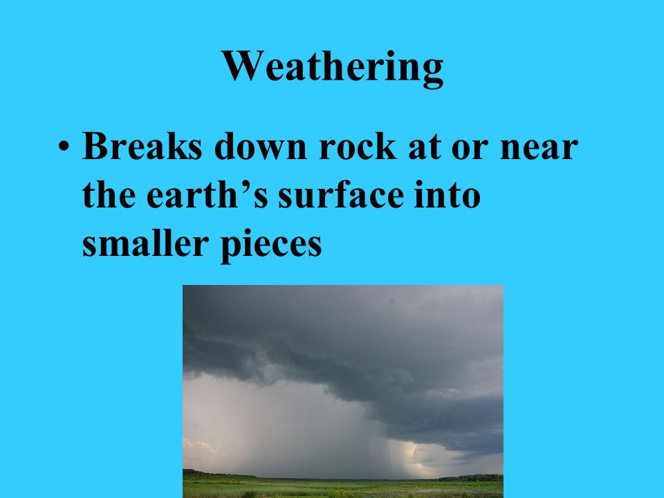 Weathering Breaks down rock at or near the earth's surface into smaller pieces