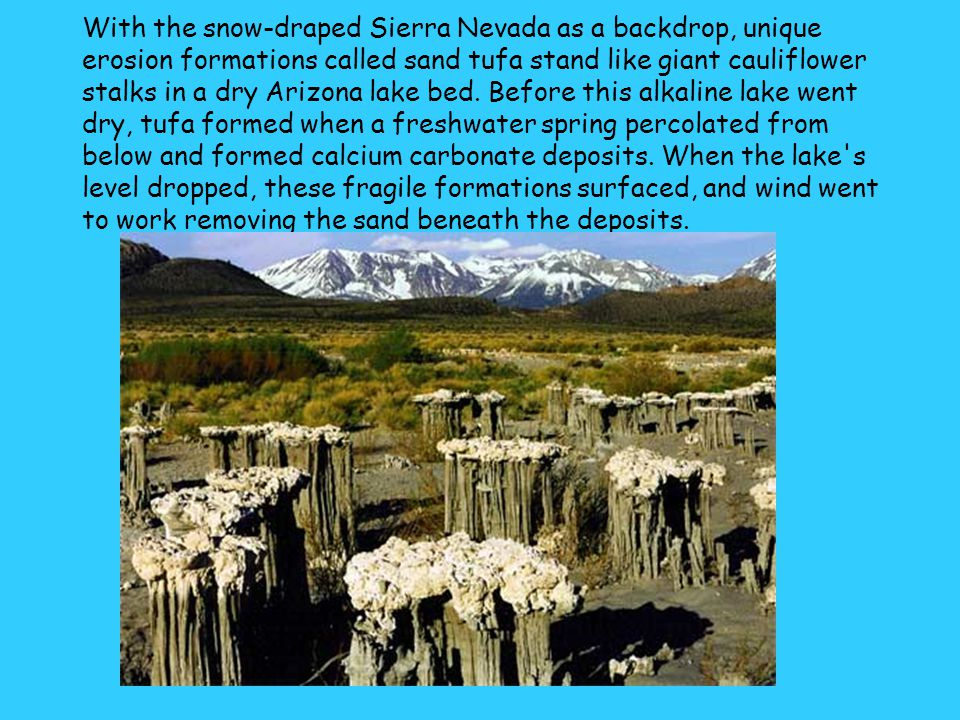 With the snow-draped Sierra Nevada as a backdrop, unique erosion formations called sand tufa stand like giant cauliflower stalks in a dry Arizona lake bed.