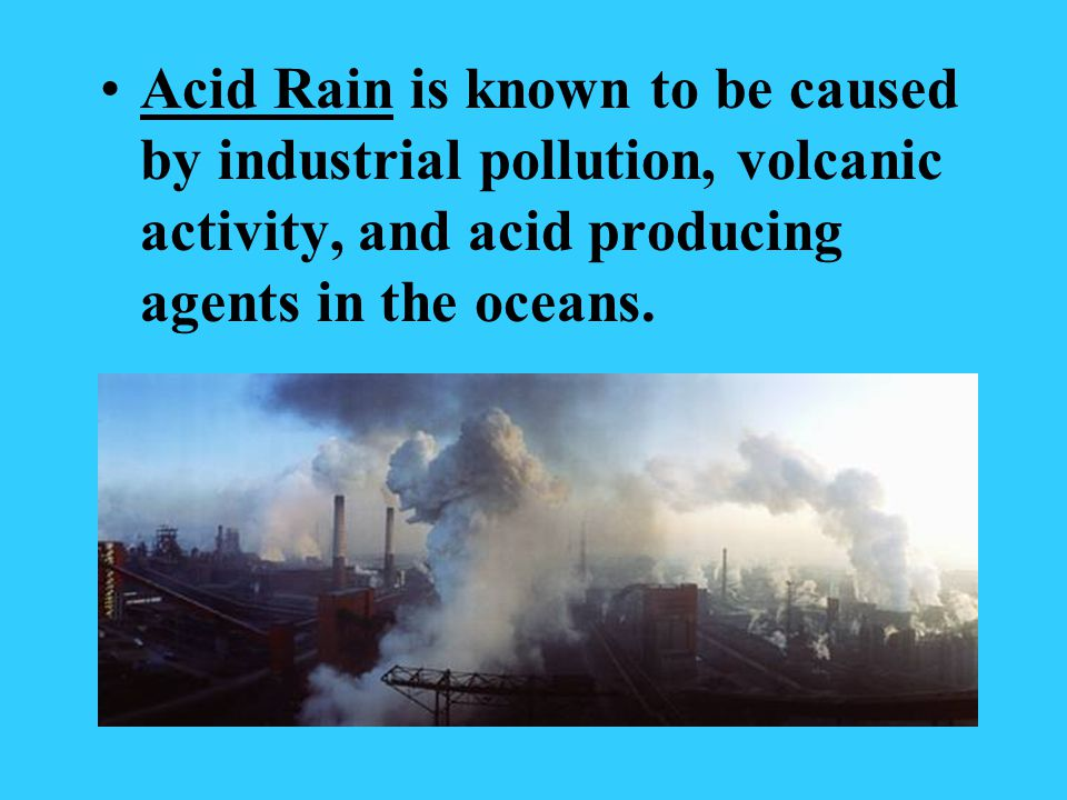Acid Rain is known to be caused by industrial pollution, volcanic activity, and acid producing agents in the oceans.
