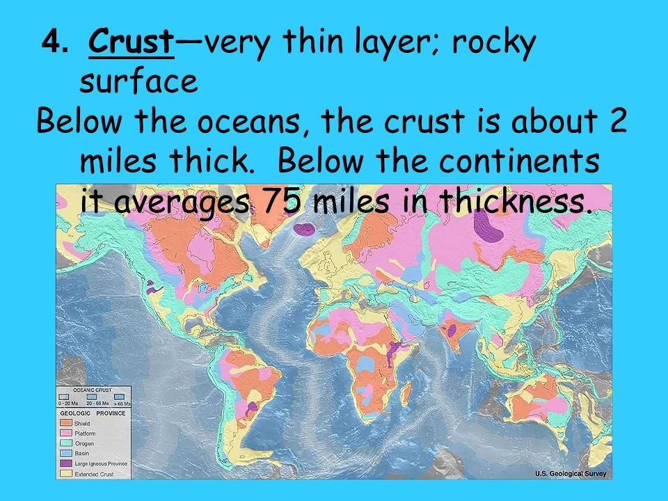 4. Crust—very thin layer; rocky surface