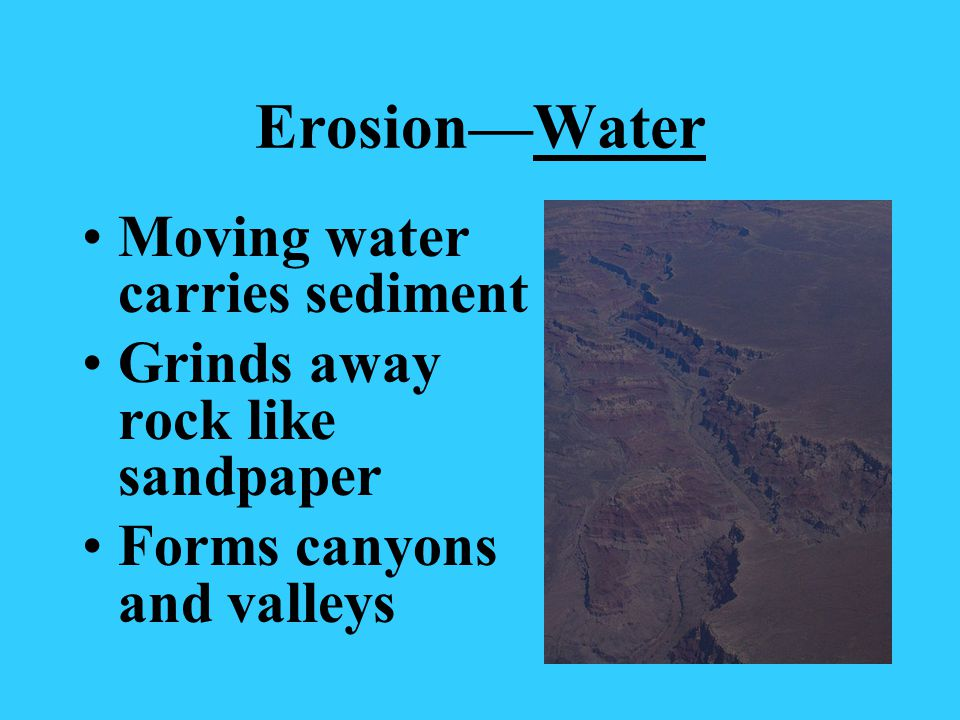 Erosion—Water Moving water carries sediment