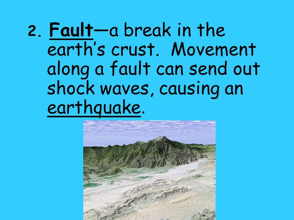 2. Fault—a break in the earth's crust