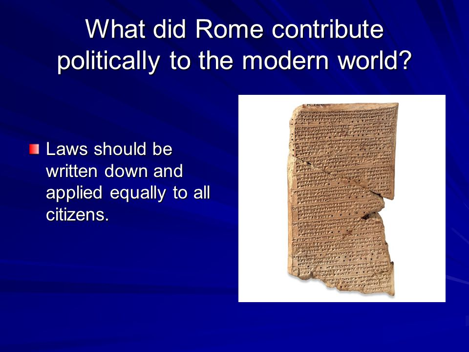 What did Rome contribute politically to the modern world