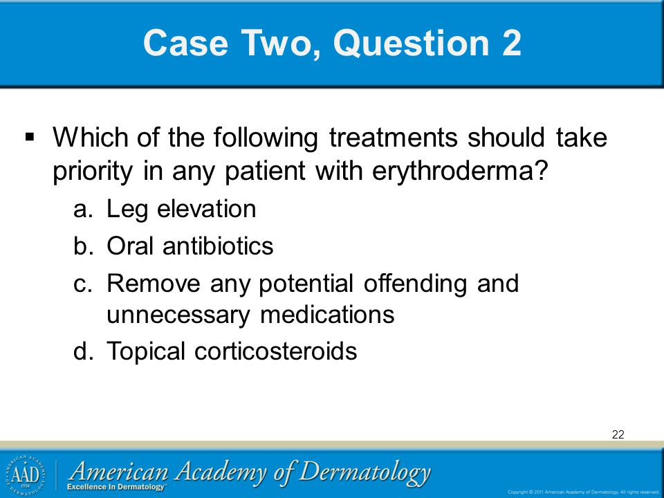 Case Two, Question 2 Which of the following treatments should take priority in any patient with erythroderma