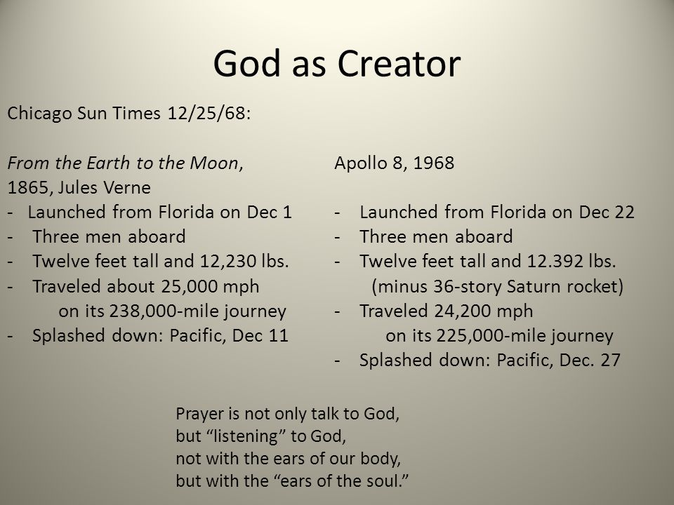 God as Creator Chicago Sun Times 12/25/68: From the Earth to the Moon,