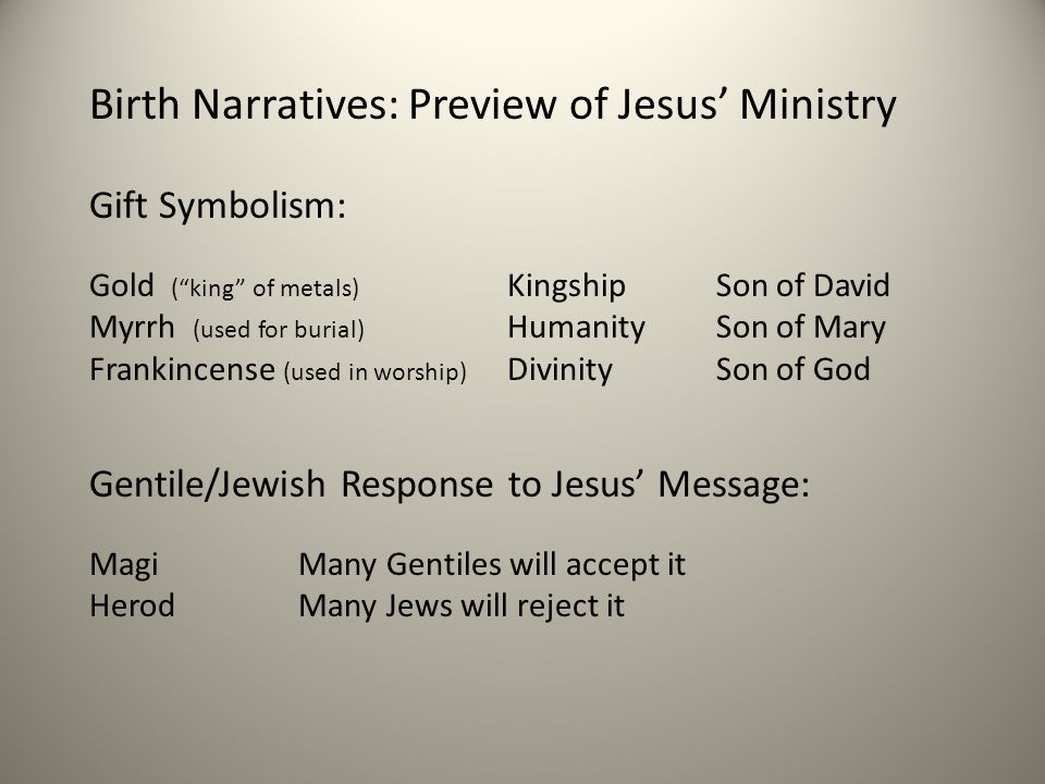 Birth Narratives: Preview of Jesus' Ministry