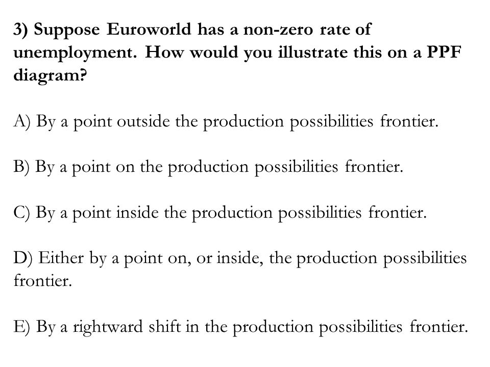 3) Suppose Euroworld has a non-zero rate of unemployment
