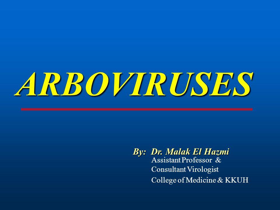 ARBOVIRUSES By: Dr. Malak El Hazmi