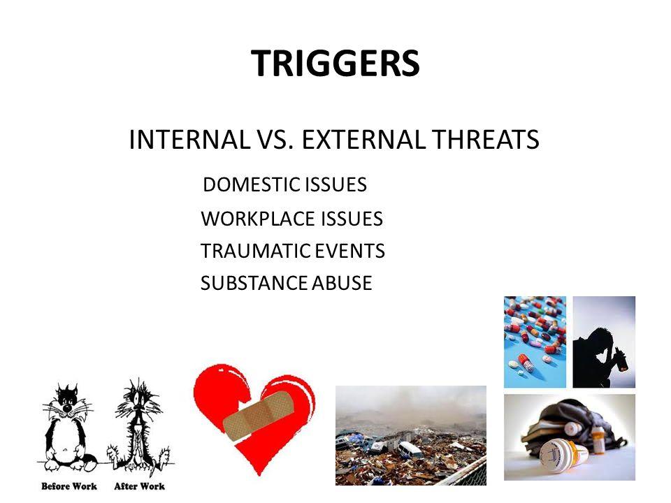 TRIGGERS INTERNAL VS. EXTERNAL THREATS DOMESTIC ISSUES