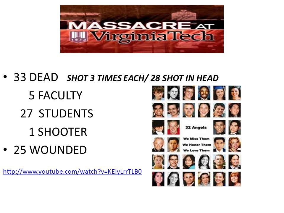 33 DEAD SHOT 3 TIMES EACH/ 28 SHOT IN HEAD 5 FACULTY 27 STUDENTS