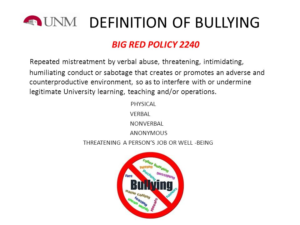 DEFINITION OF BULLYING BIG RED POLICY 2240
