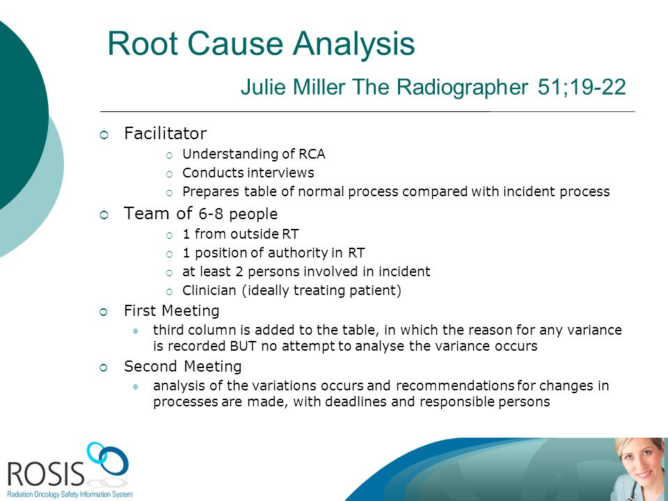 Root Cause Analysis Julie Miller The Radiographer 51;19-22