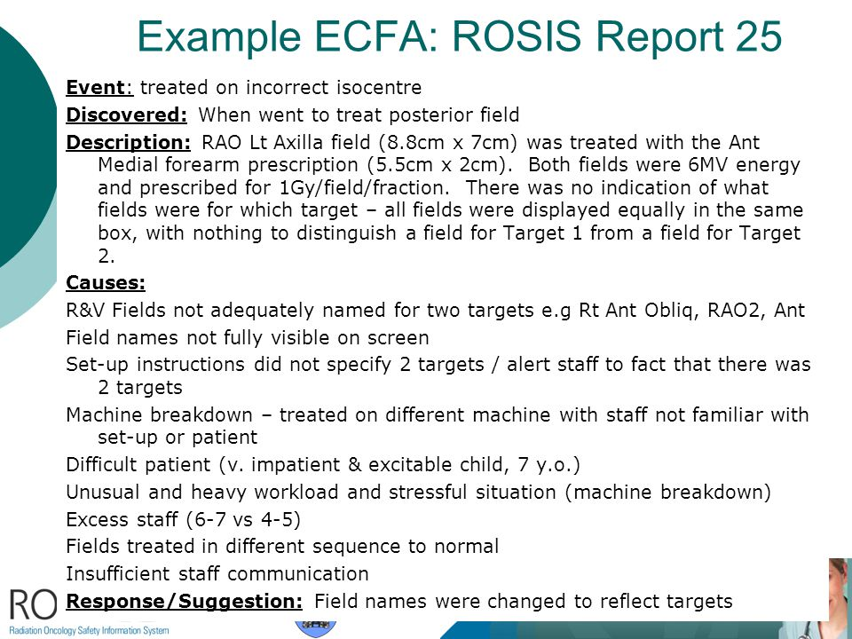 Example ECFA: ROSIS Report 25