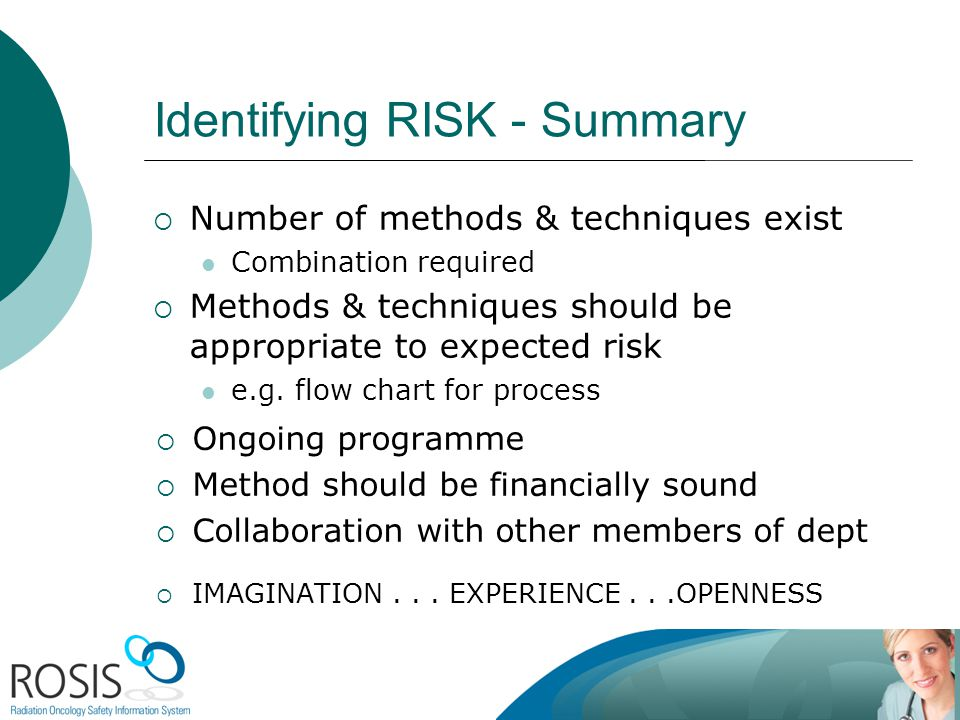 Identifying RISK - Summary