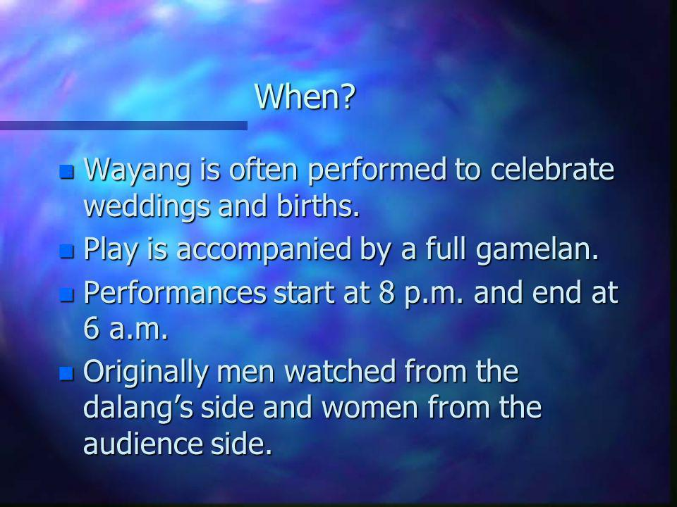 When Wayang is often performed to celebrate weddings and births.