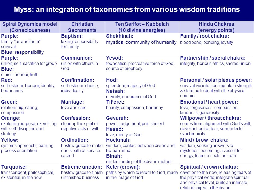 Myss: an integration of taxonomies from various wisdom traditions