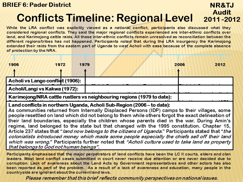Conflicts Timeline: Regional Level