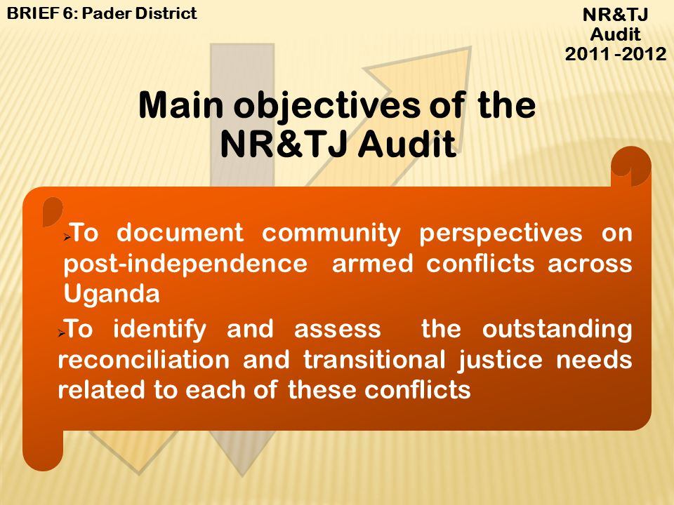 Main objectives of the NR&TJ Audit