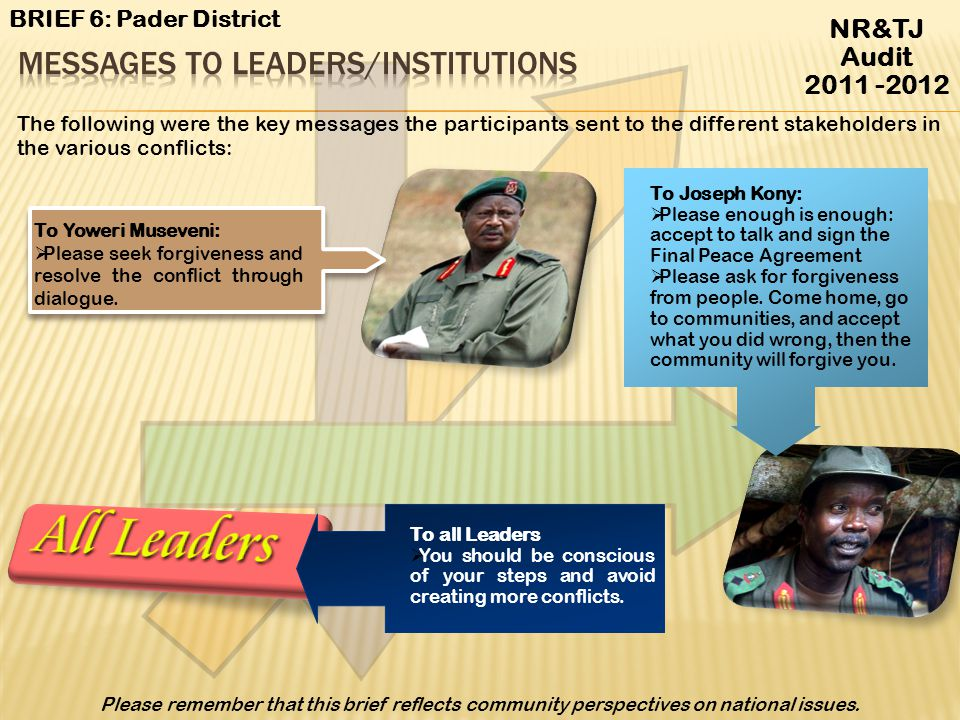 Messages to Leaders/Institutions