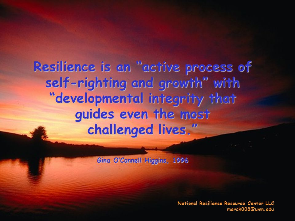 Resilience is an active process of self-righting and growth with developmental integrity that guides even the most challenged lives. Gina O'Connell Higgins, 1996