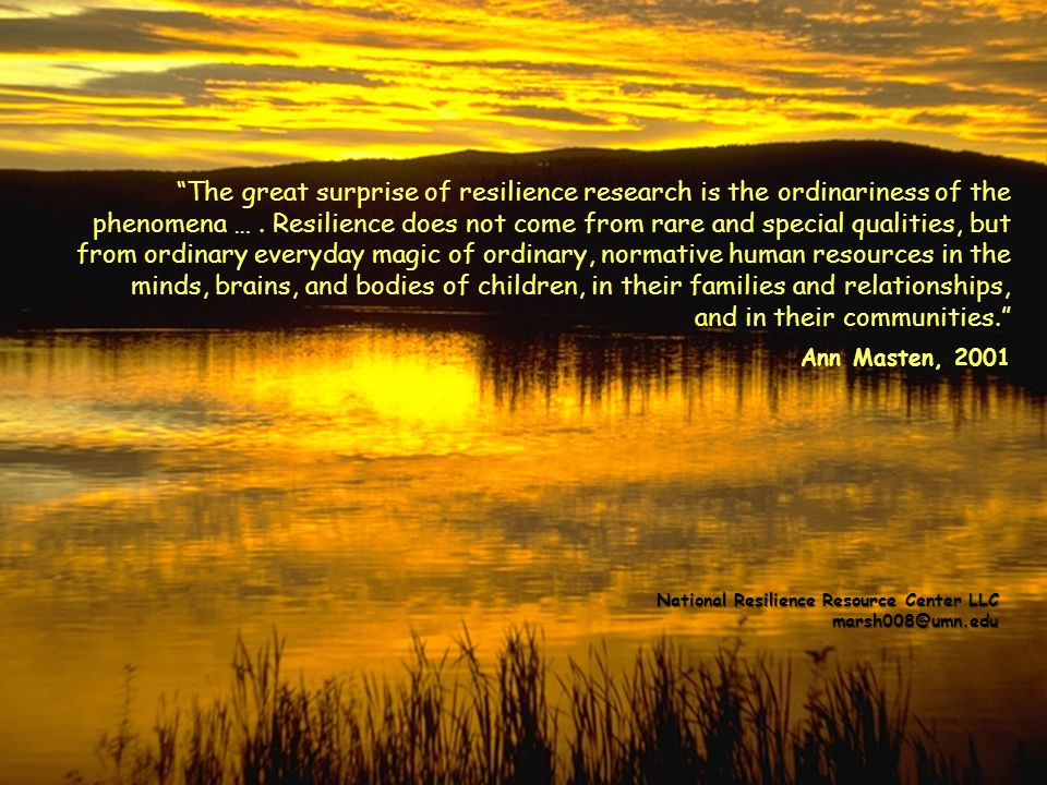 The great surprise of resilience research is the ordinariness of the phenomena … . Resilience does not come from rare and special qualities, but from ordinary everyday magic of ordinary, normative human resources in the minds, brains, and bodies of children, in their families and relationships, and in their communities. Ann Masten, 2001