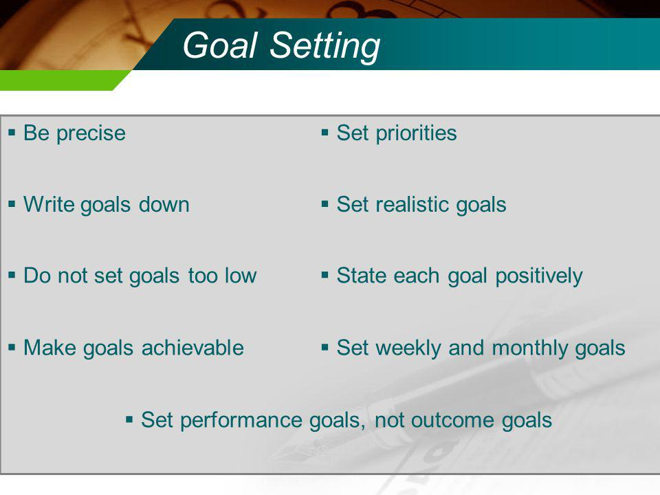 Key Factors to Goal Setting