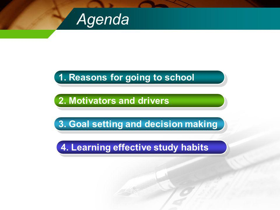 Agenda 1. Reasons for going to school 2. Motivators and drivers