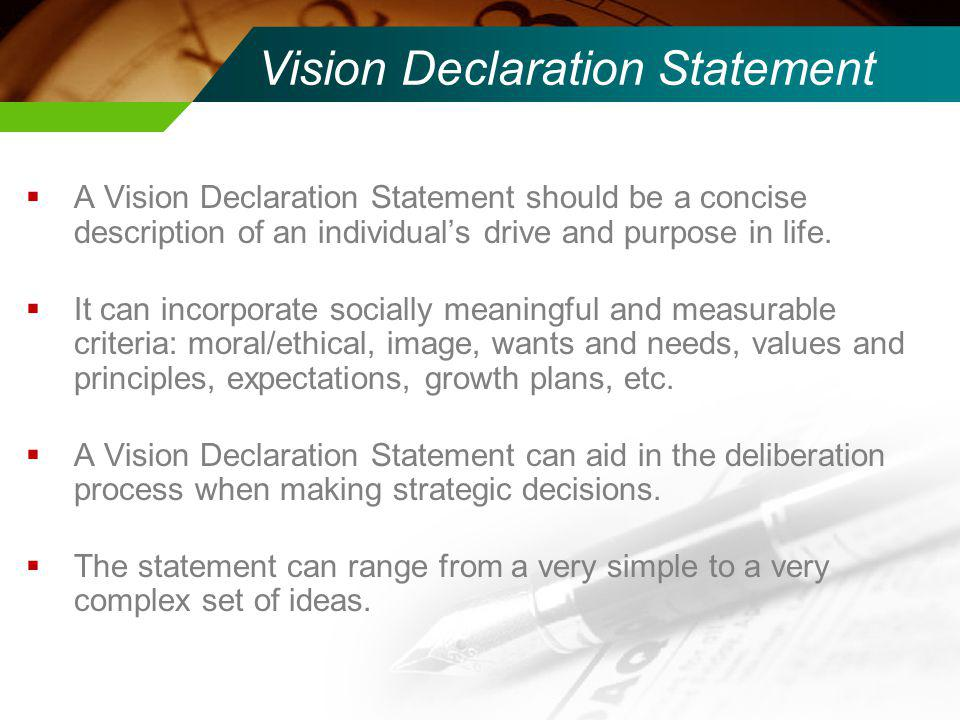 Vision Declaration Statement