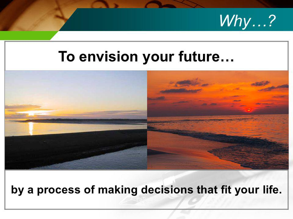 by a process of making decisions that fit your life.