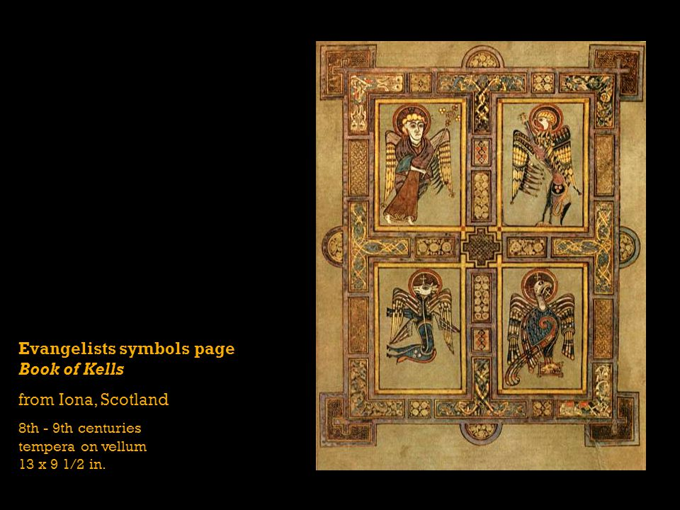 Evangelists symbols page Book of Kells from Iona, Scotland