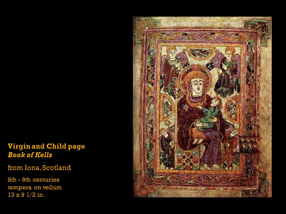 Virgin and Child page Book of Kells from Iona, Scotland