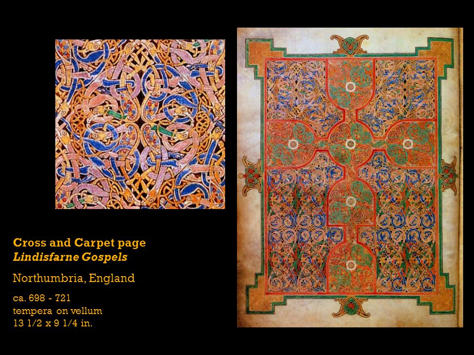Cross and Carpet page Lindisfarne Gospels Northumbria, England