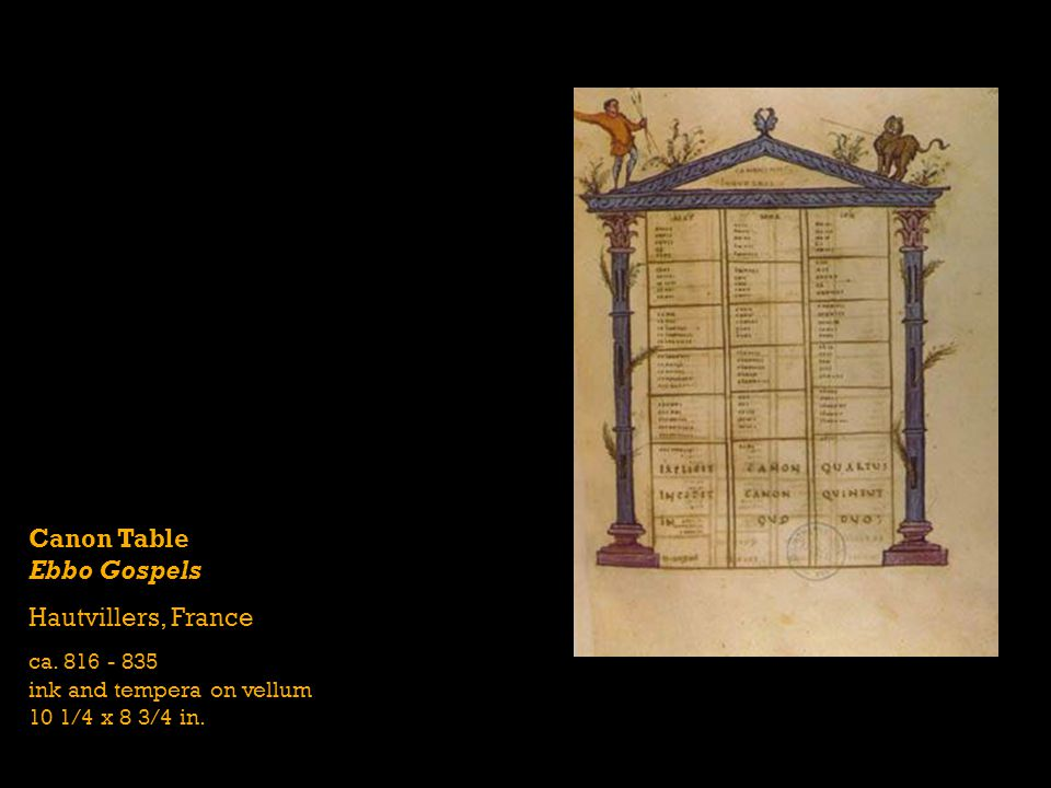 Canon Table Ebbo Gospels Hautvillers, France