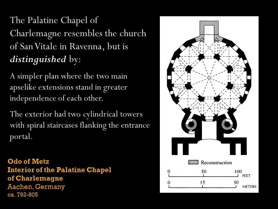 The Palatine Chapel of Charlemagne resembles the church of San Vitale in Ravenna, but is distinguished by: